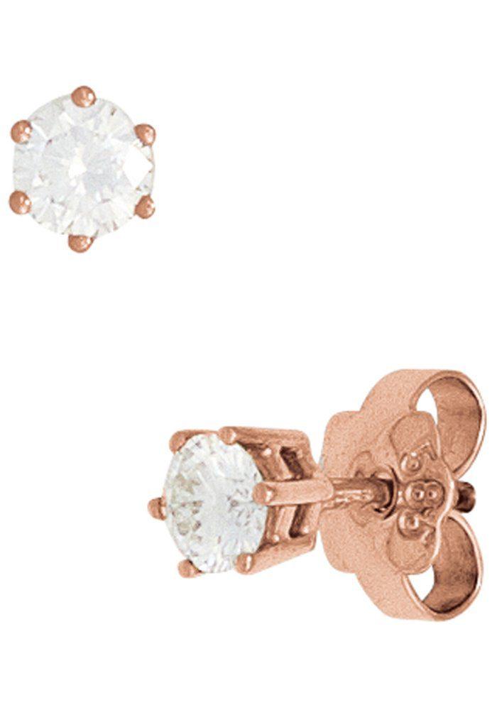 JOBO Paar Ohrstecker rund 585 Roségold mit 2 Diamanten