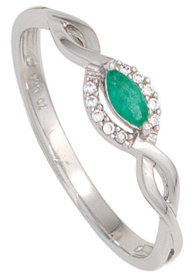 jobo diamantring 333 wei gold mit 10 diamanten und smaragd online kaufen otto. Black Bedroom Furniture Sets. Home Design Ideas