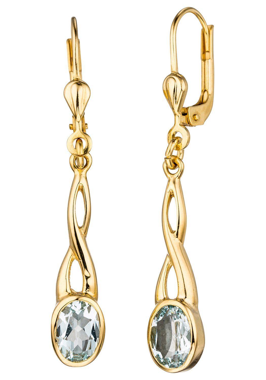 JOBO Paar Ohrhänger 585 Gold mit Aquamarin