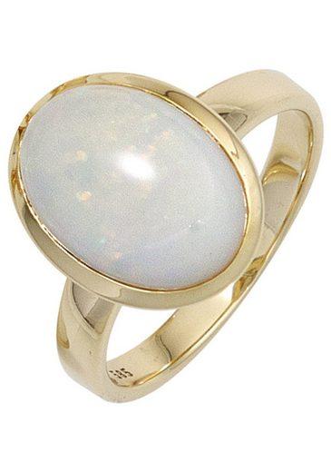 JOBO Goldring, 585 Gold mit Opal-Cabochon