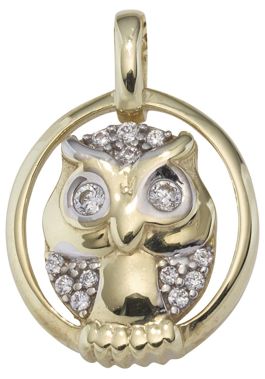JOBO Kettenanhänger »Eule« 333 Gold bicolor mit Zirkonia