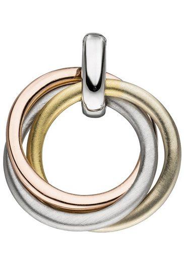JOBO Kettenanhänger verschlungen 925 Silber vergoldet tricolor