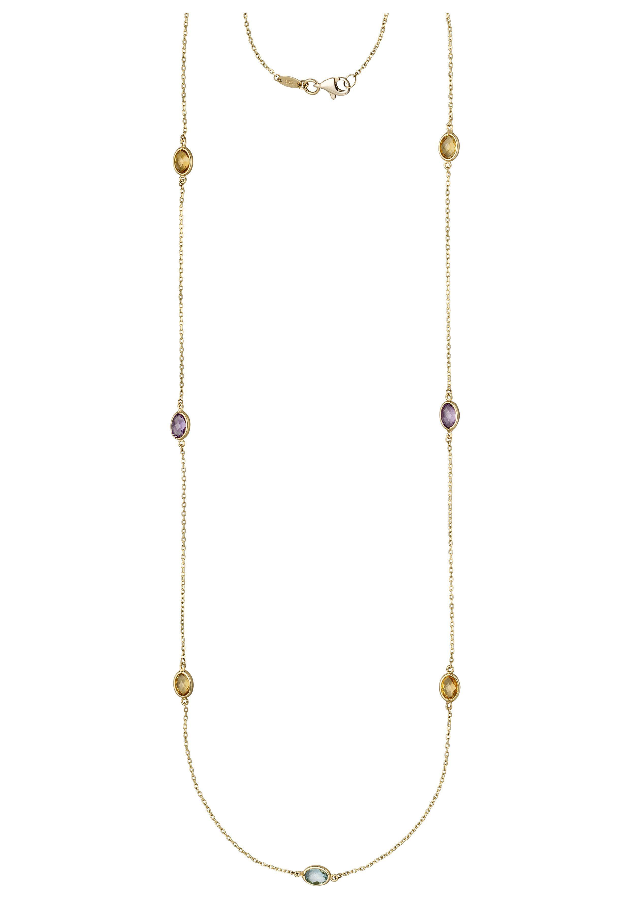 JOBO Collier 585 Gold mit Amethyst Blautopas Citrin 90 cm
