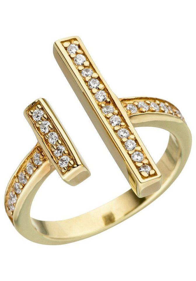 JOBO Fingerring 925 Silber vergoldet mit Zirkonia | Schmuck > Ringe > Fingerringe | Goldfarben | JOBO