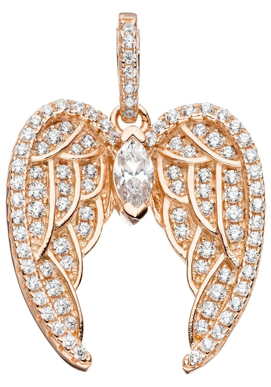 JOBO Flügelanhänger »Engelsflügel« 925 Silber roségold vergoldet mit Zirkonia