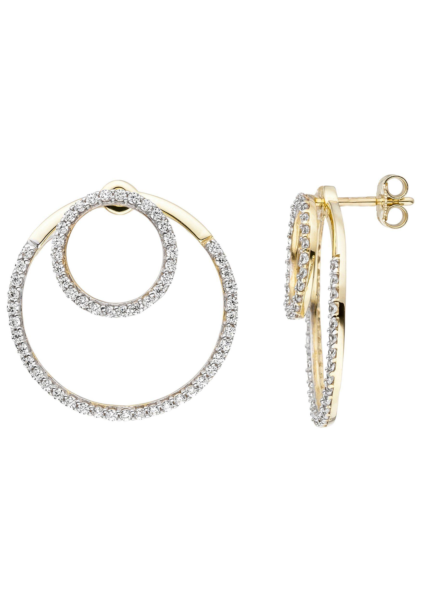 JOBO Paar Ohrhänger 375 Gold mit Zirkonia
