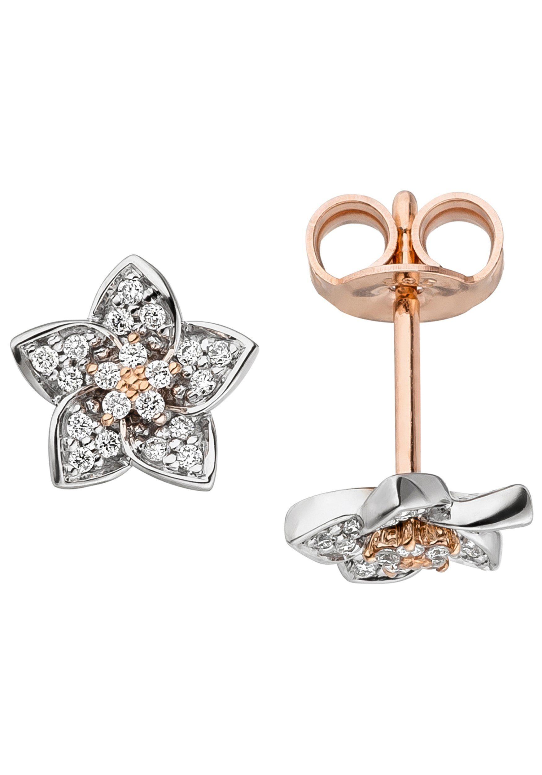 JOBO Paar Ohrstecker »Blume« 585 Gold bicolor mit 40 Diamanten