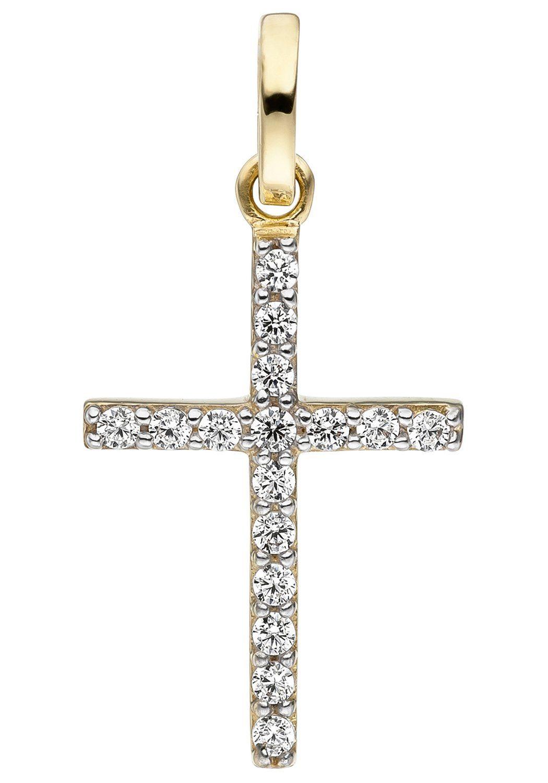 JOBO Kreuzanhänger »Kreuz« Kreuz 375 Gold mit Zirkonia