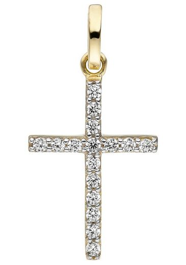 JOBO Kreuzanhänger, Kreuz 375 Gold mit Zirkonia