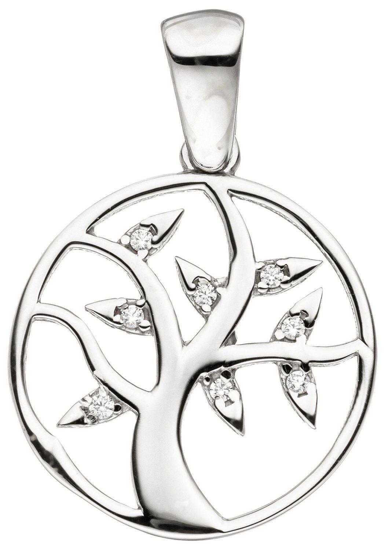 JOBO Kettenanhänger »Lebensbaum« 925 Silber mit Zirkonia