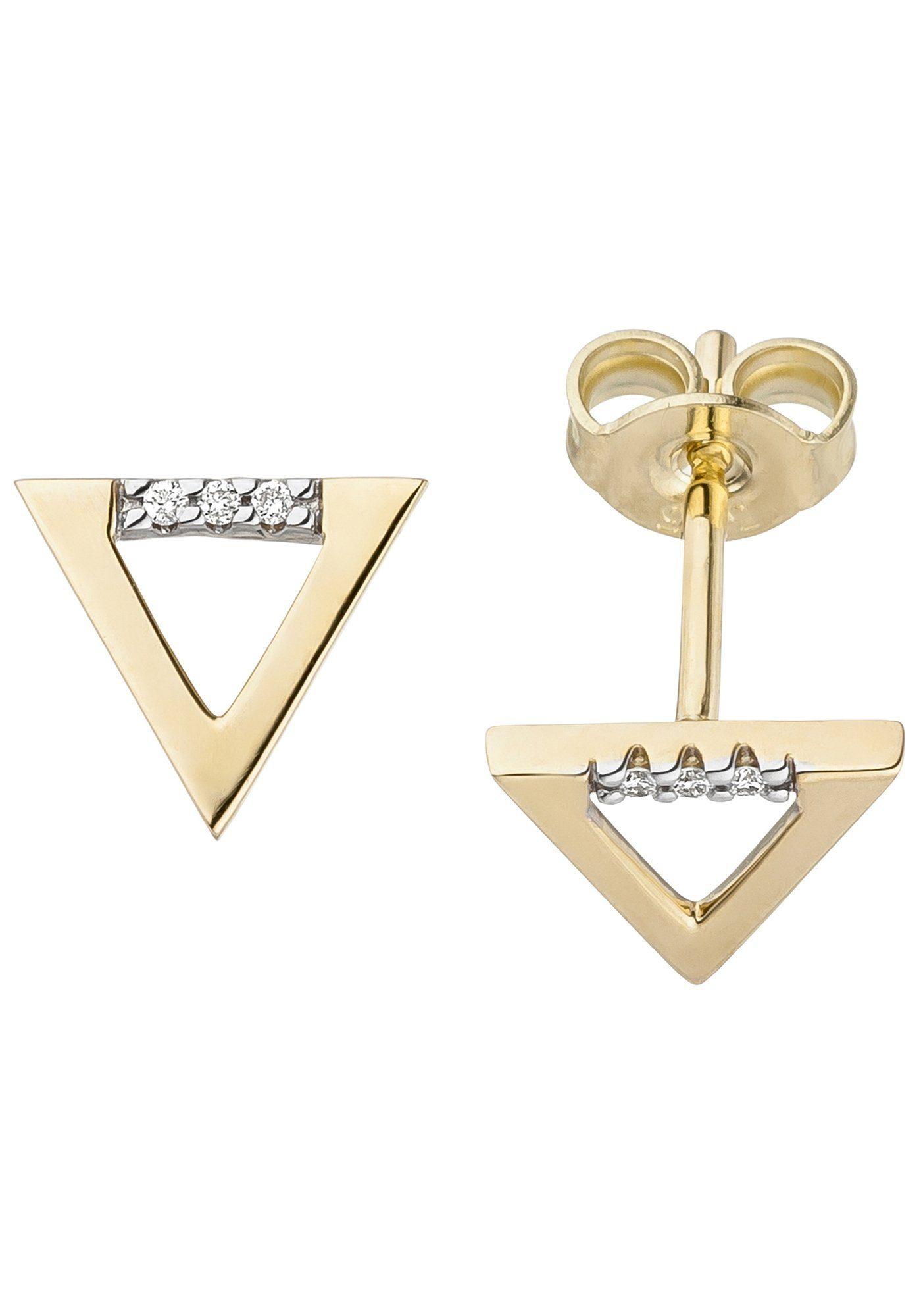 JOBO Paar Ohrstecker dreieckig 585 Gold mit 6 Diamanten