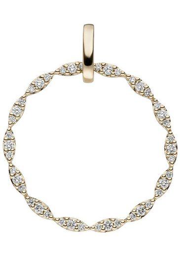 JOBO Runder Anhänger rund 585 Gold mit 42 Diamanten