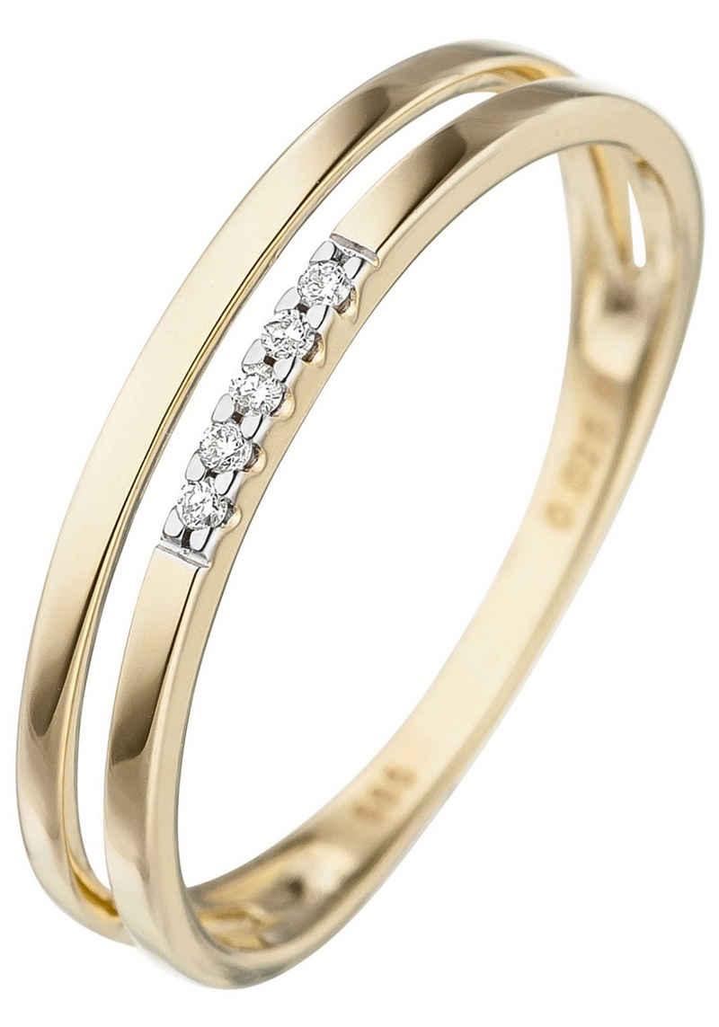 JOBO Diamantring, 585 Gold mit 5 Diamanten