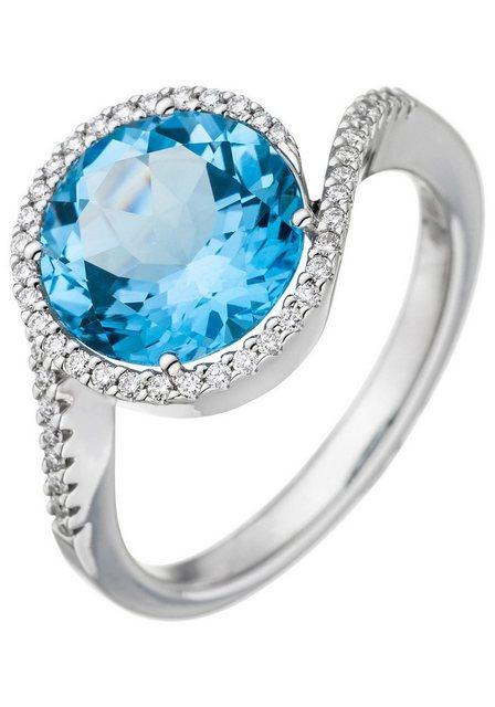 JOBO Diamantring, 585 Weißgold mit Blautopas und 47 Diamanten | Schmuck > Ringe > Diamantringe | Jobo