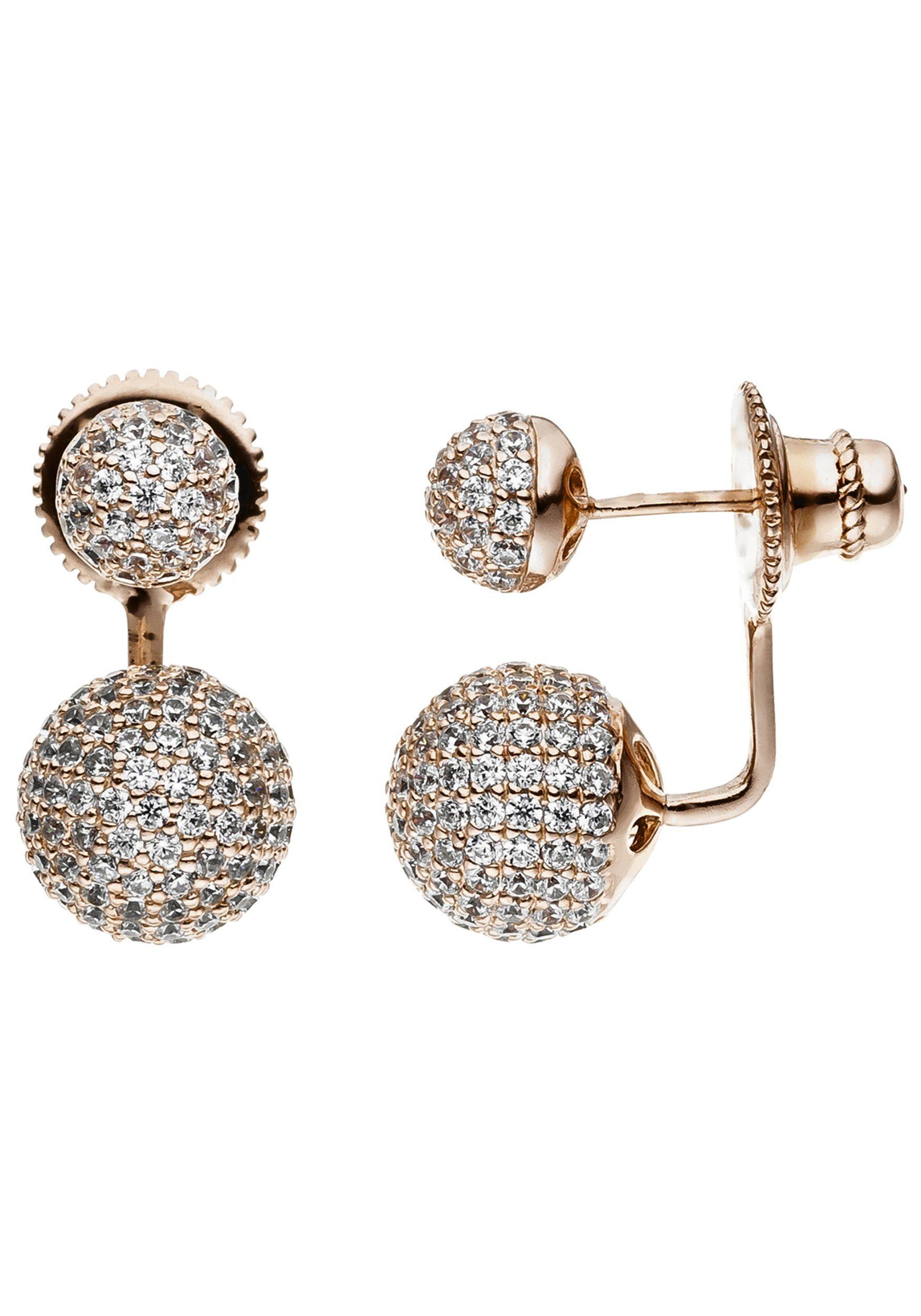 JOBO Paar Ohrstecker »Kugeln« 925 Silber roségold vergoldet mit Zirkonia