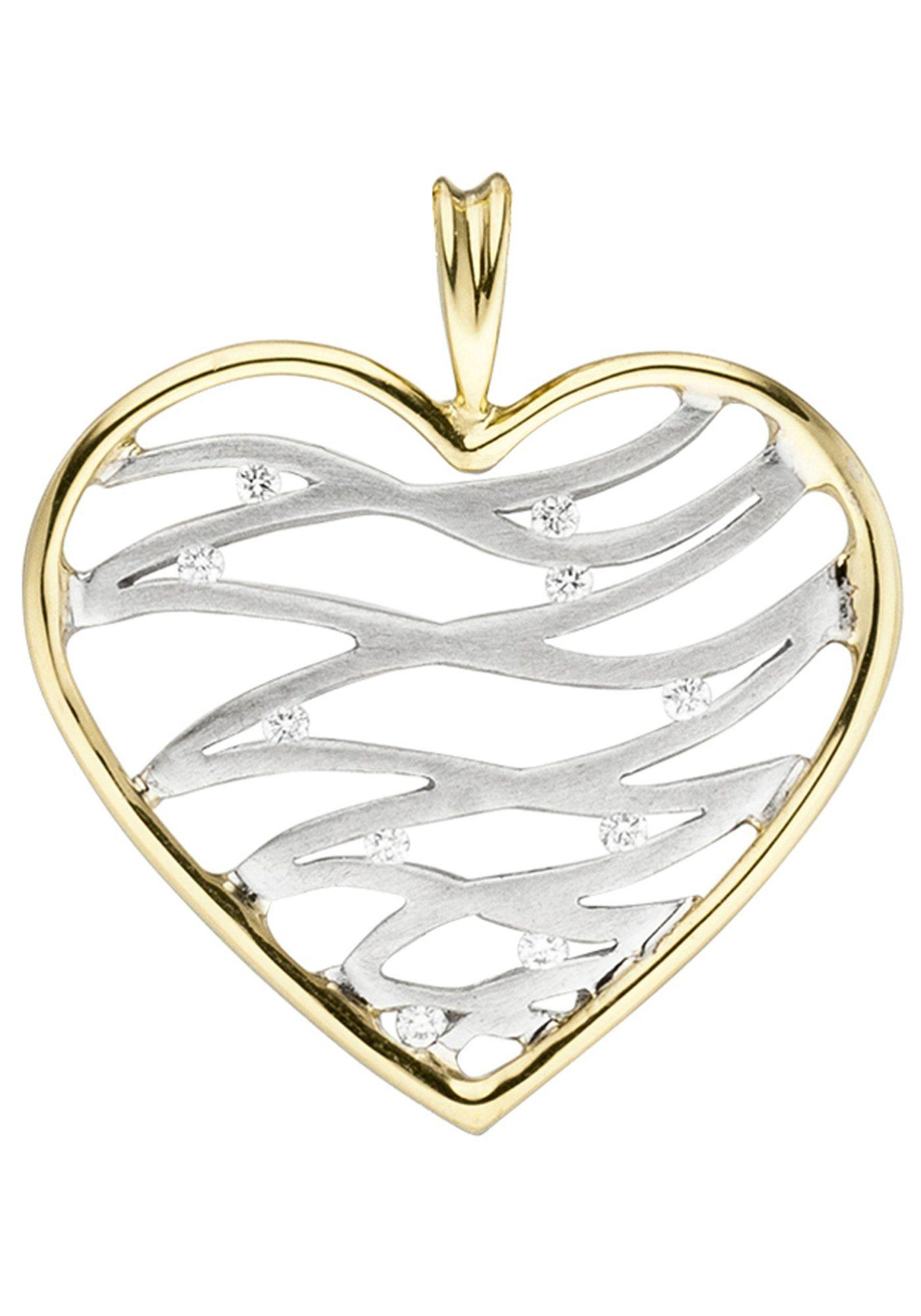 JOBO Herzanhänger »Herz« 585 Gold bicolor mit 10 Diamanten