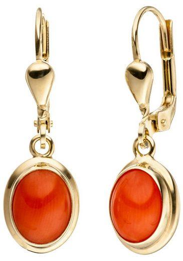 JOBO Paar Ohrhänger, oval 333 Gold mit Koralle