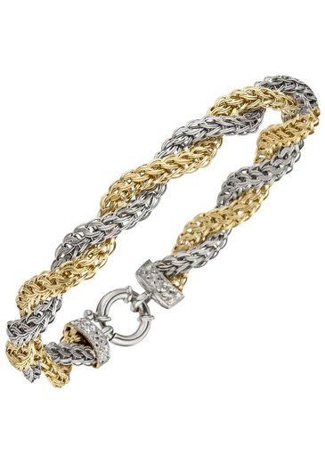 JOBO Goldarmband, 375 Gold bicolor diamantiert 21 cm