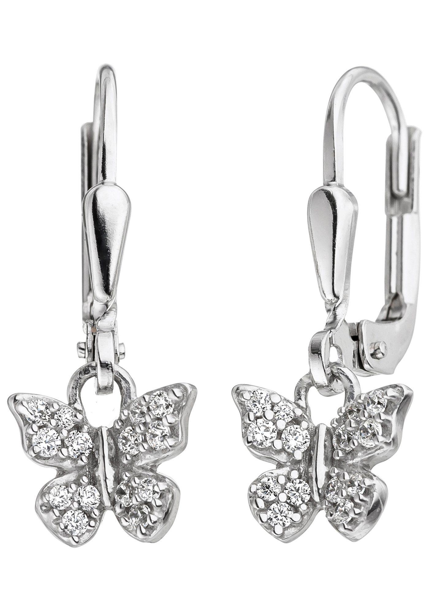 JOBO Paar Ohrhänger »Schmetterling« 925 Silber mit Zirkonia