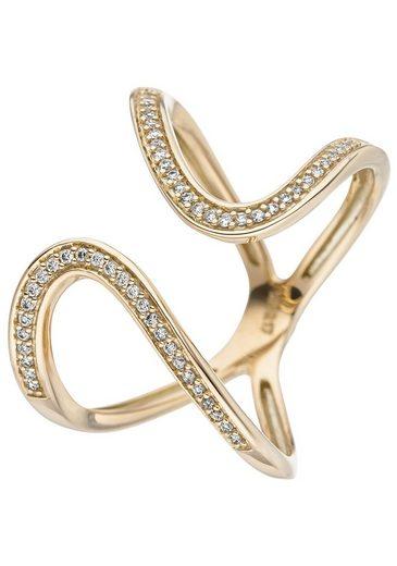 JOBO Diamantring, 585 Gold mit 55 Diamanten