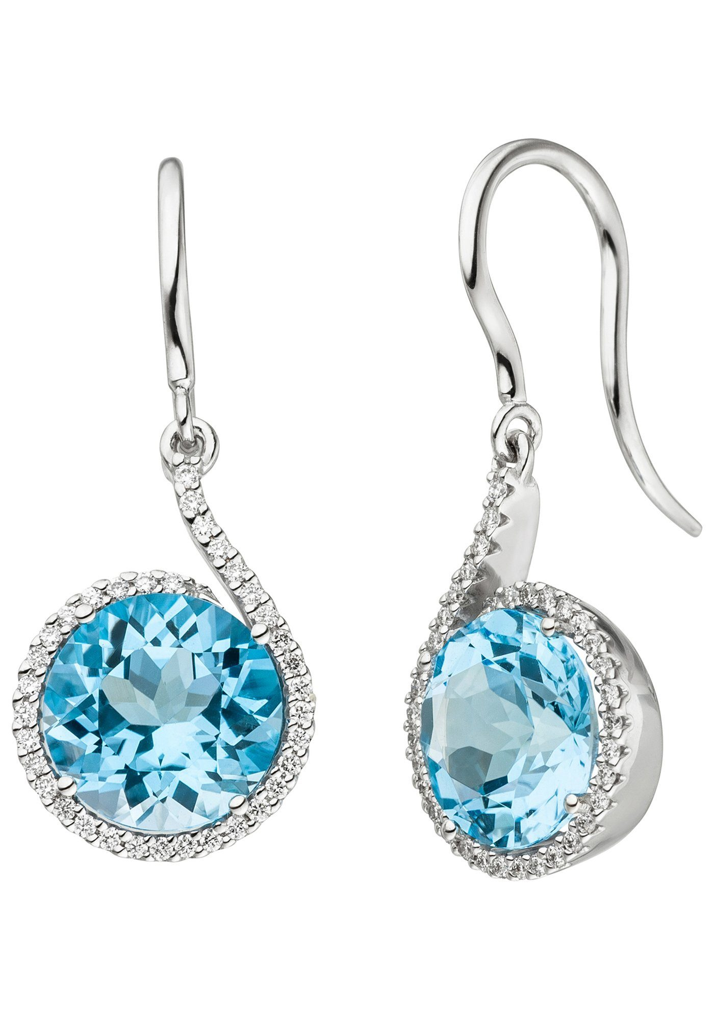 JOBO Paar Ohrhänger 585 Weißgold mit 70 Diamanten und Blautopas