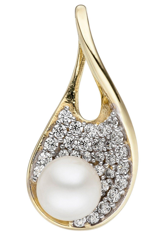 JOBO Perlenanhänger 375 Gold mit Süßwasser-Zuchtperle und Zirkonia