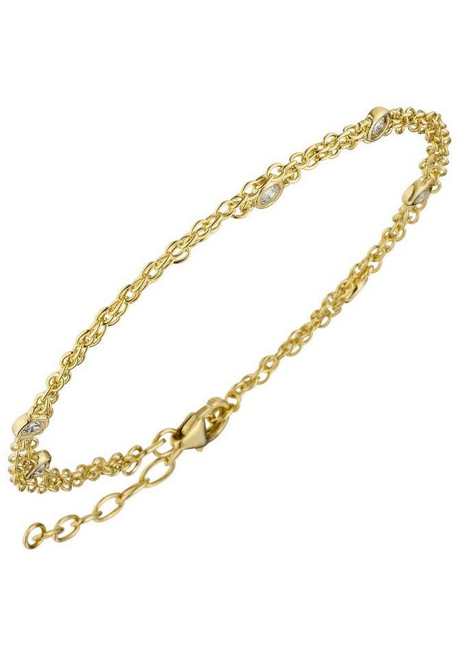 JOBO Armband 2-reihig 925 Silber vergoldet mit Zirkonia 21 cm | Schmuck > Armbänder > Goldarmbänder | Goldfarben | JOBO
