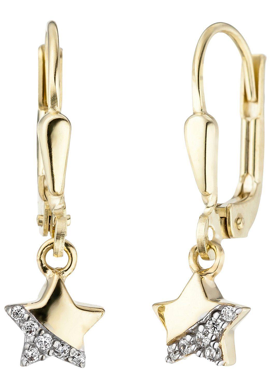 JOBO Paar Ohrhänger »Stern« 375 Gold mit Zirkonia