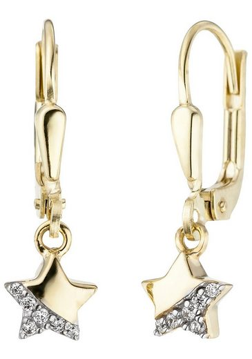 JOBO Paar Ohrhänger »Stern«, 375 Gold mit Zirkonia