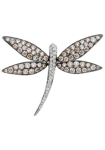 JOBO Kettenanhänger »Libelle«, 585 Weißgold mit 95 Diamanten