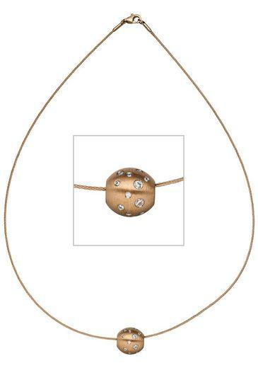 JOBO Collier »Kugel« Edelstahl mit Zirkonia 45 cm