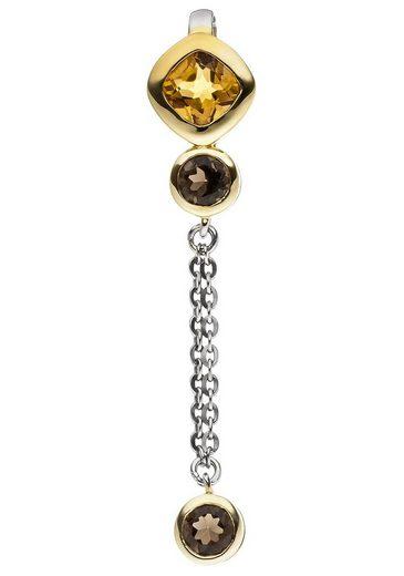 JOBO Kettenanhänger, 925 Silber bicolor vergoldet Citrin und Rauchquarz
