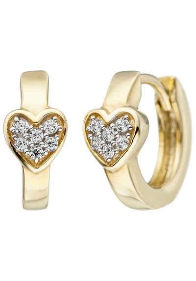 JOBO Paar Creolen, Herz 375 Gold mit Zirkonia