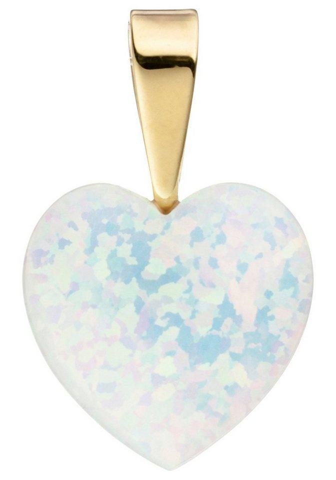 JOBO Herzanhänger »Herz« 333 Gold mit einem synthetischen Opal | Schmuck > Halsketten > Herzketten | Goldfarben | JOBO