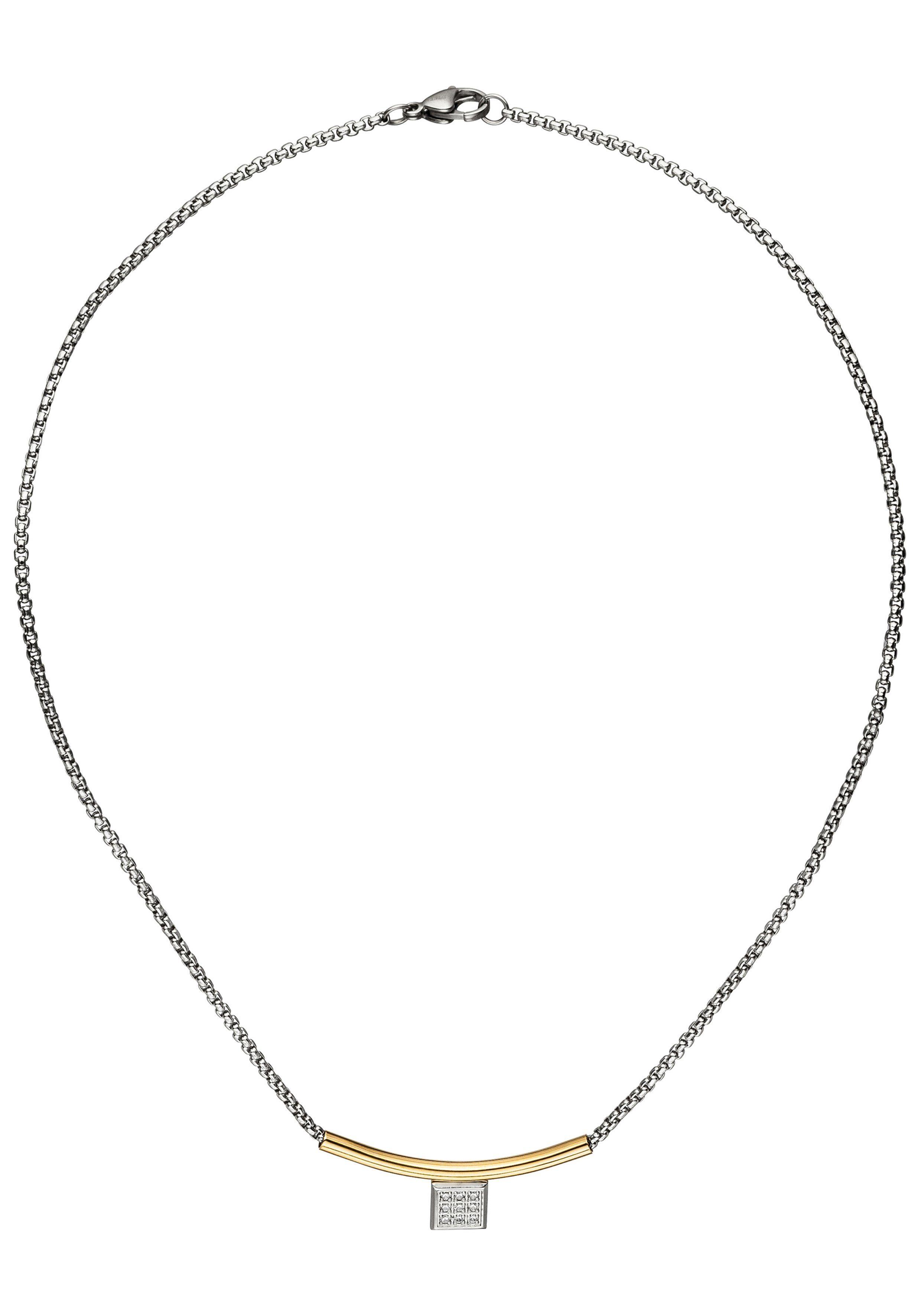 JOBO Collier Edelstahl bicolor mit Zirkonia 42 cm