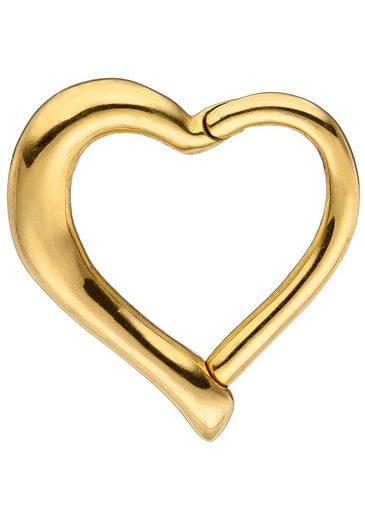 JOBO Nasenpiercing, Segmentring Herz Edelstahl goldfarben