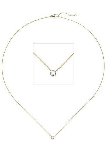 JOBO Kette mit Anhänger, 750 Gold bicolor mit 1 Diamant