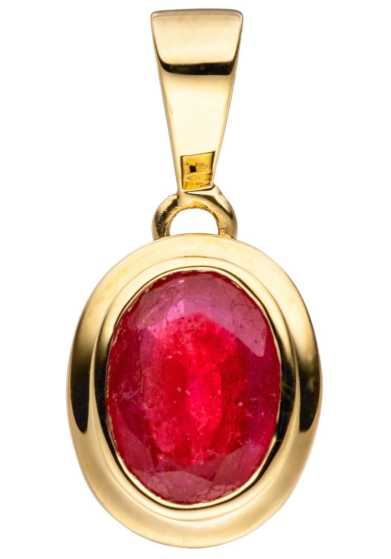 JOBO Kettenanhänger oval 585 Gold mit Rubin