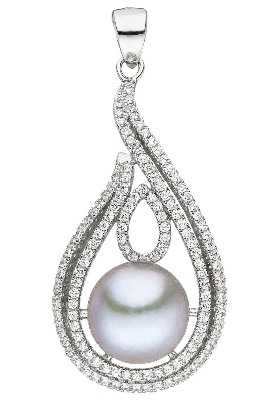 JOBO Perlenanhänger 925 Silber mit Süßwasser-Zuchtperle und Zirkonia