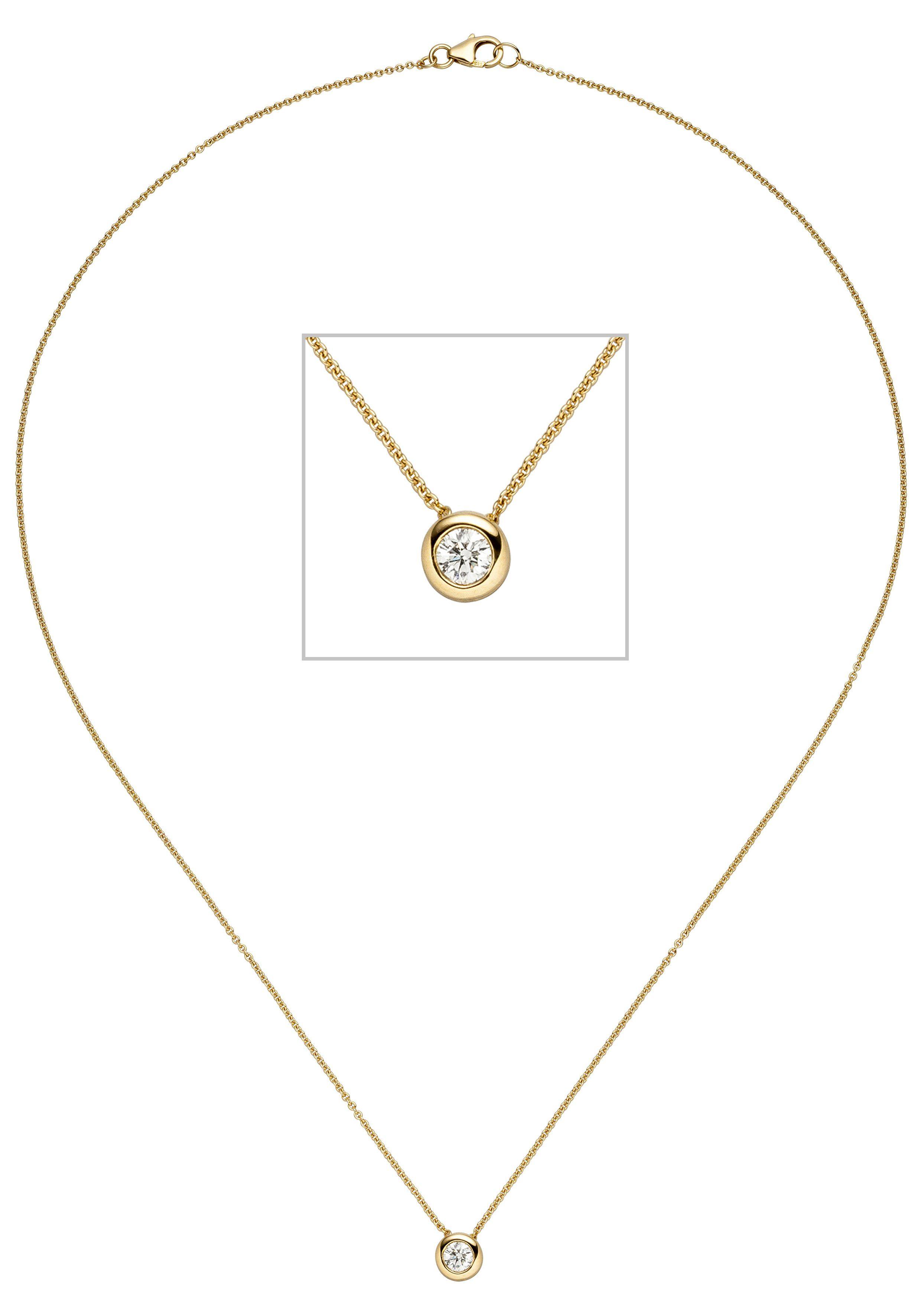 JOBO Kette mit Anhänger 585 Gold mit 1 Diamant 45 cm