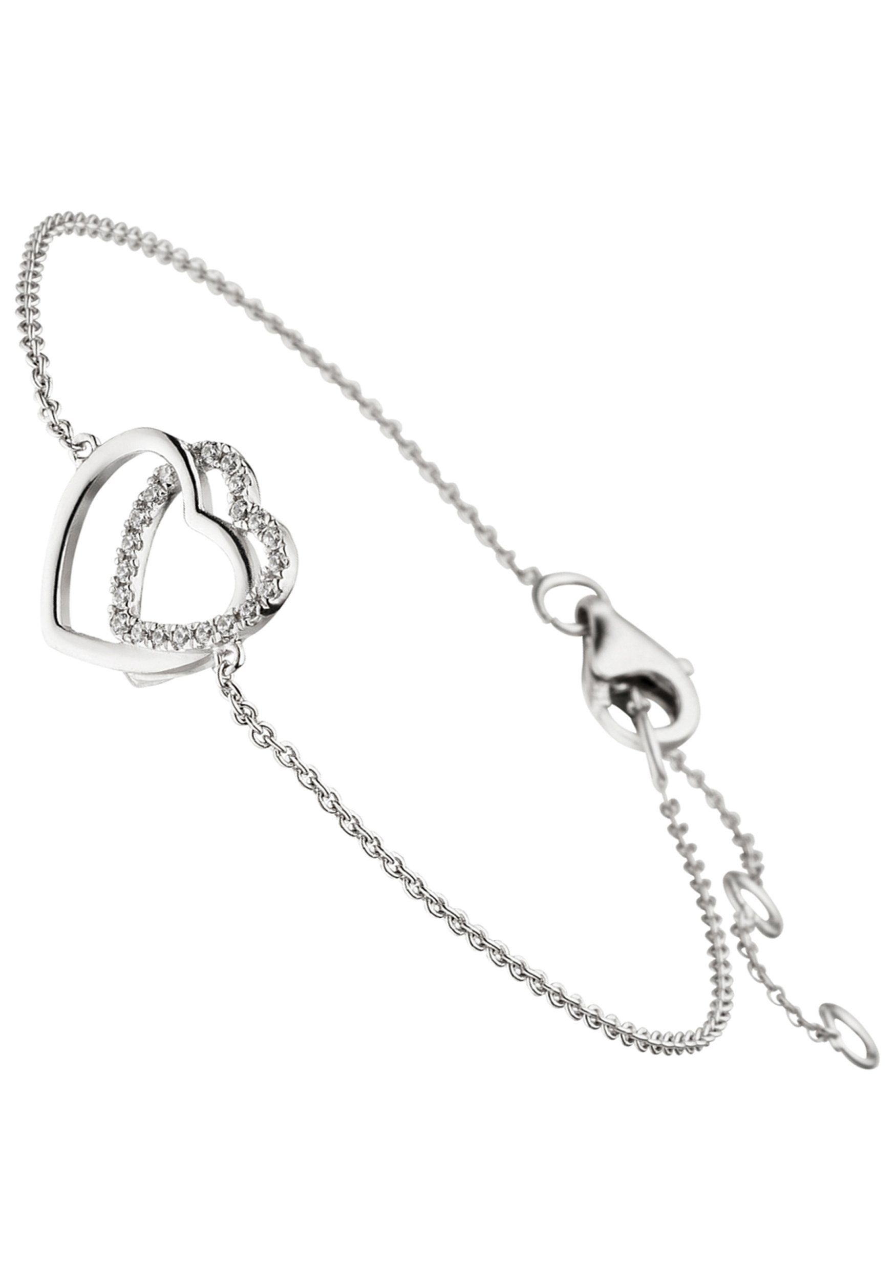 JOBO Silberarmband »Herzen« 925 Silber mit Zirkonia 18 cm