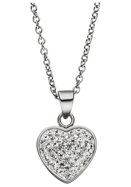 JOBO Kette mit Anhänger, Herz Edelstahl mit Kristallen 45 cm | Schmuck > Halsketten > Ketten mit Anhänger | JOBO