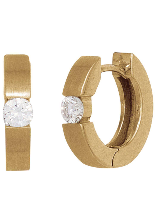 JOBO Paar Creolen rund 585 Gold matt mit 2 Diamanten