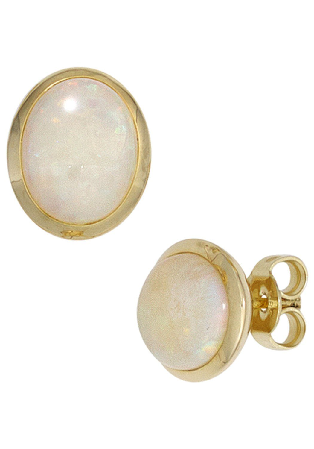 JOBO Paar Ohrstecker oval 585 Gold mit Opal-Cabochons