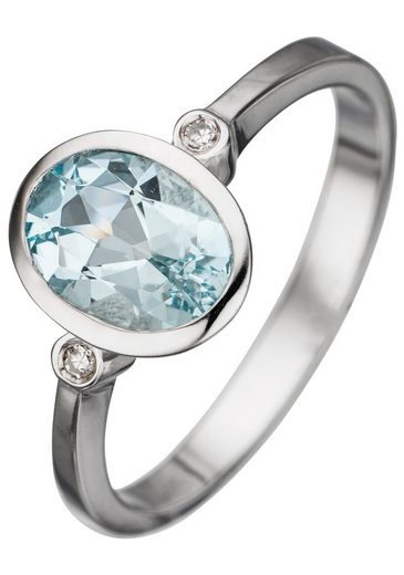 JOBO Diamantring, 585 Weißgold mit 2 Diamanten und Aquamarin