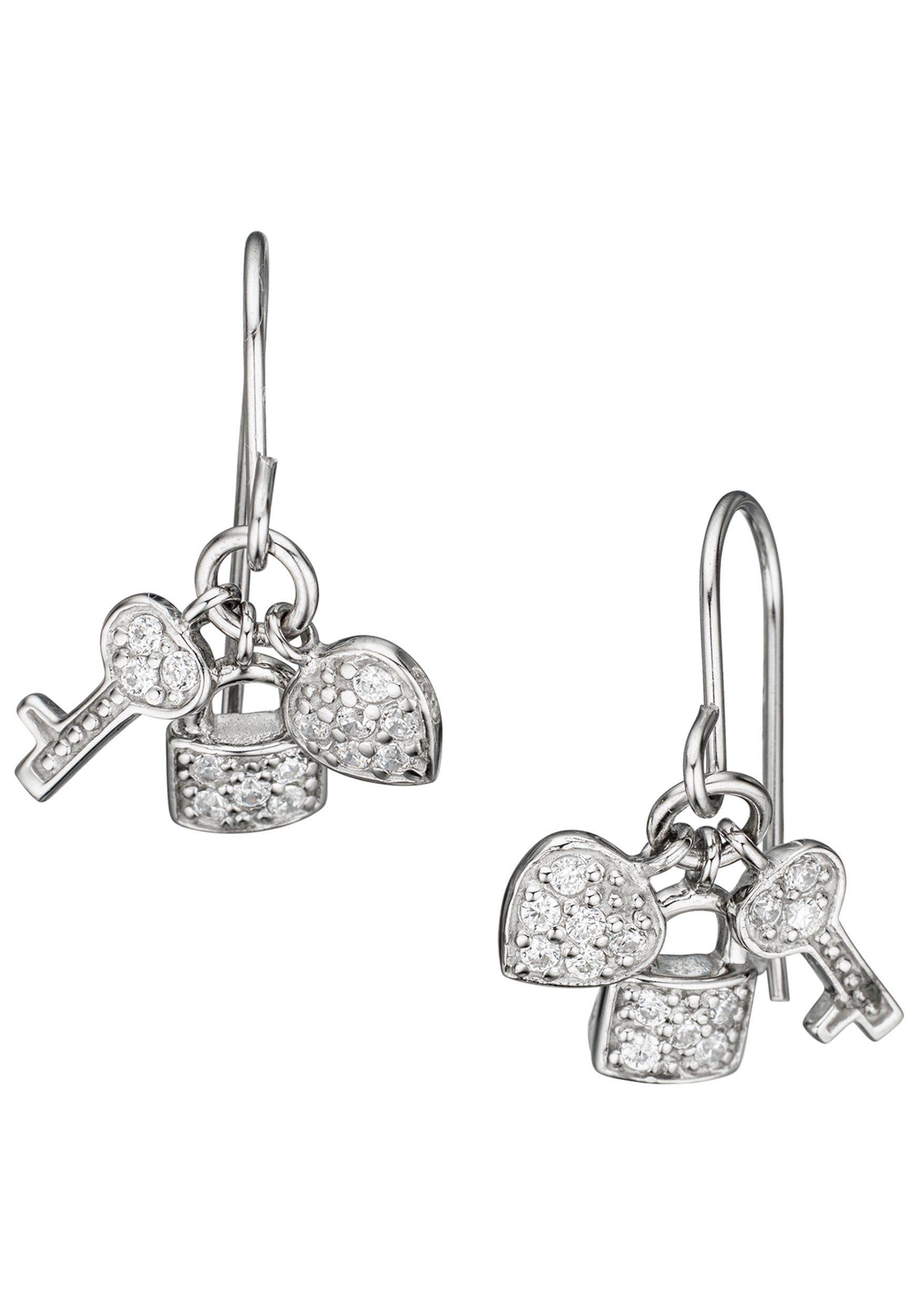 JOBO Paar Ohrhänger »Herz Schloss Schlüssel« 925 Silber mit Zirkonia