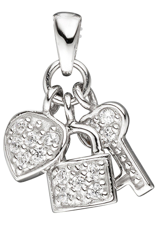 JOBO Kettenanhänger »Herz Schloss Schlüssel« 925 Silber mit Zirkonia