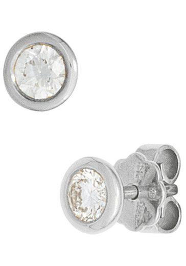 JOBO Paar Ohrstecker, rund 585 Weißgold mit 2 Diamanten