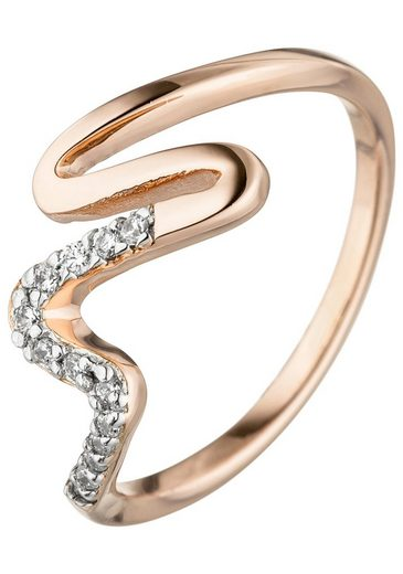 JOBO Fingerring, 925 Silber roségold vergoldet mit Zirkonia