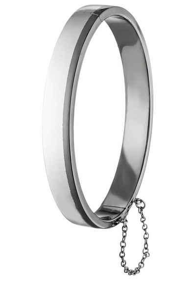 JOBO Armreif, oval 925 Silber mit schwarzem Streifen